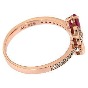 Anello Quadricuore AMEN argento 925 rosé zirconi rubino s5