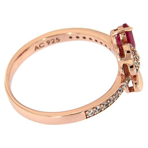 Anello Quadricuore AMEN argento 925 rosé zirconi rubino 5
