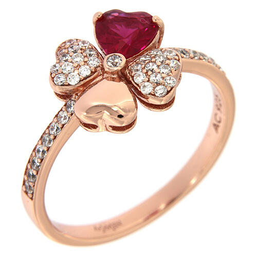 AMEN ring four-leaves clover zircons ruby and 925 rosé finished silver 1