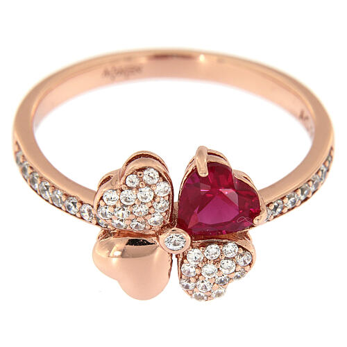 AMEN ring four-leaves clover zircons ruby and 925 rosé finished silver 2