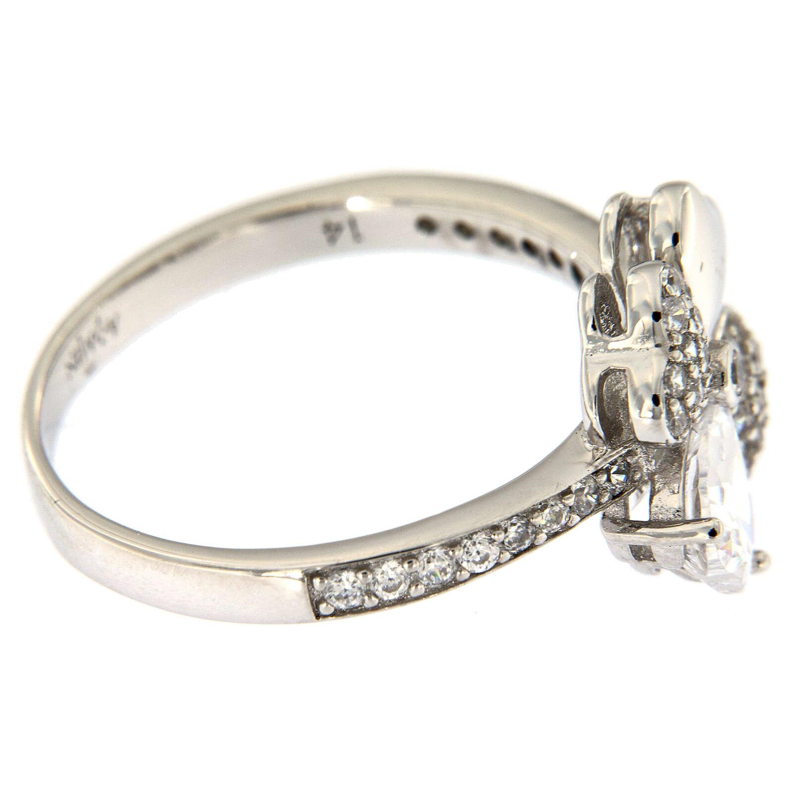 AMEN ring four-leaves clover white zircons 925 silver 3