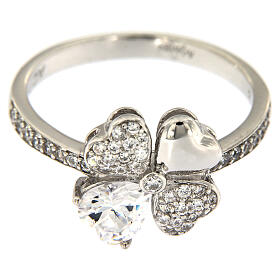 AMEN ring four-leaves clover white zircons 925 silver s2