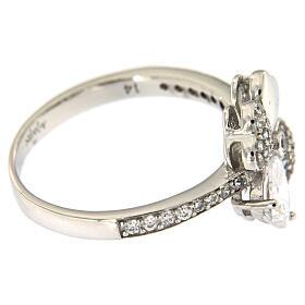 AMEN ring four-leaves clover white zircons 925 silver s3