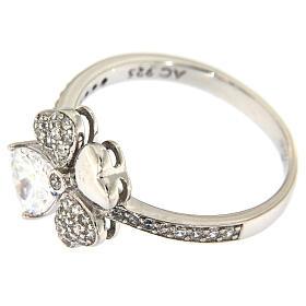 AMEN ring four-leaves clover white zircons 925 silver s4