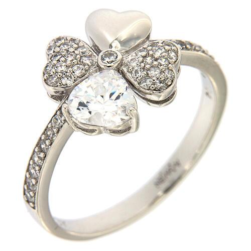 AMEN ring four-leaves clover white zircons 925 silver 1