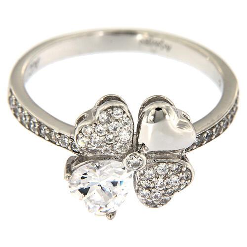 AMEN ring four-leaves clover white zircons 925 silver 2