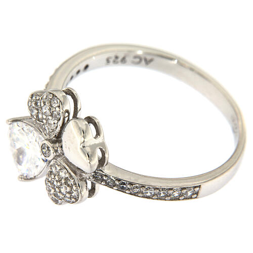 AMEN ring four-leaves clover white zircons 925 silver 4
