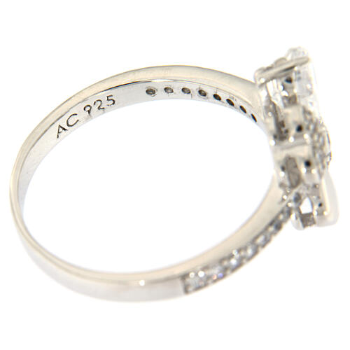 AMEN ring four-leaves clover white zircons 925 silver 5