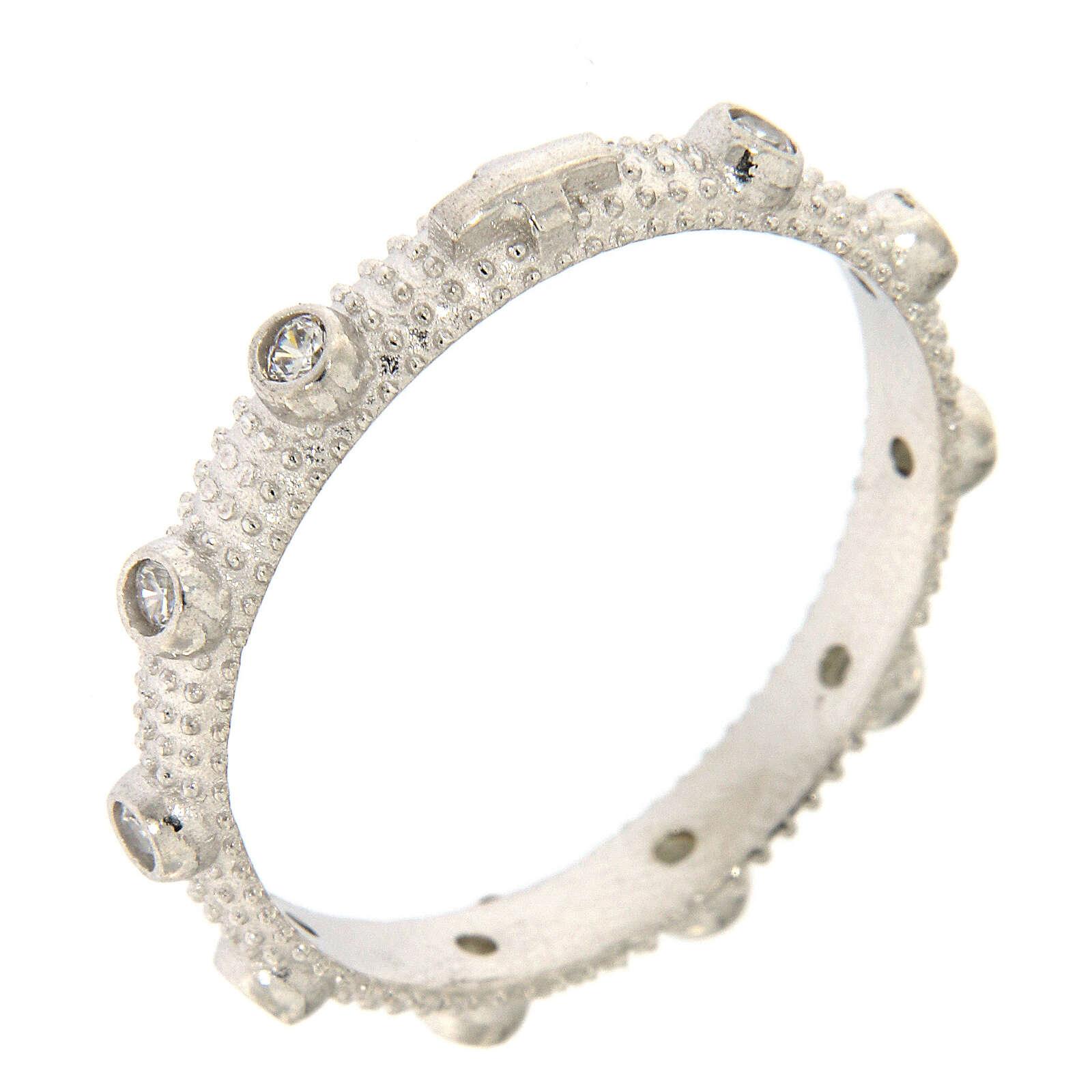 Anillo rosario slim plata 925 zircones blancos 3