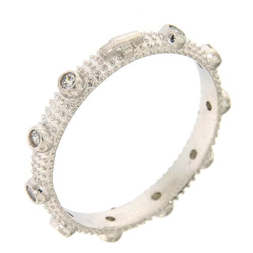 Anillo rosario slim plata 925 zircones blancos 1