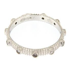 Anello rosario slim argento 925 zirconi bianchi s3