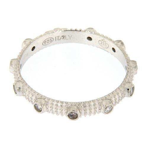 Anello rosario slim argento 925 zirconi bianchi 3