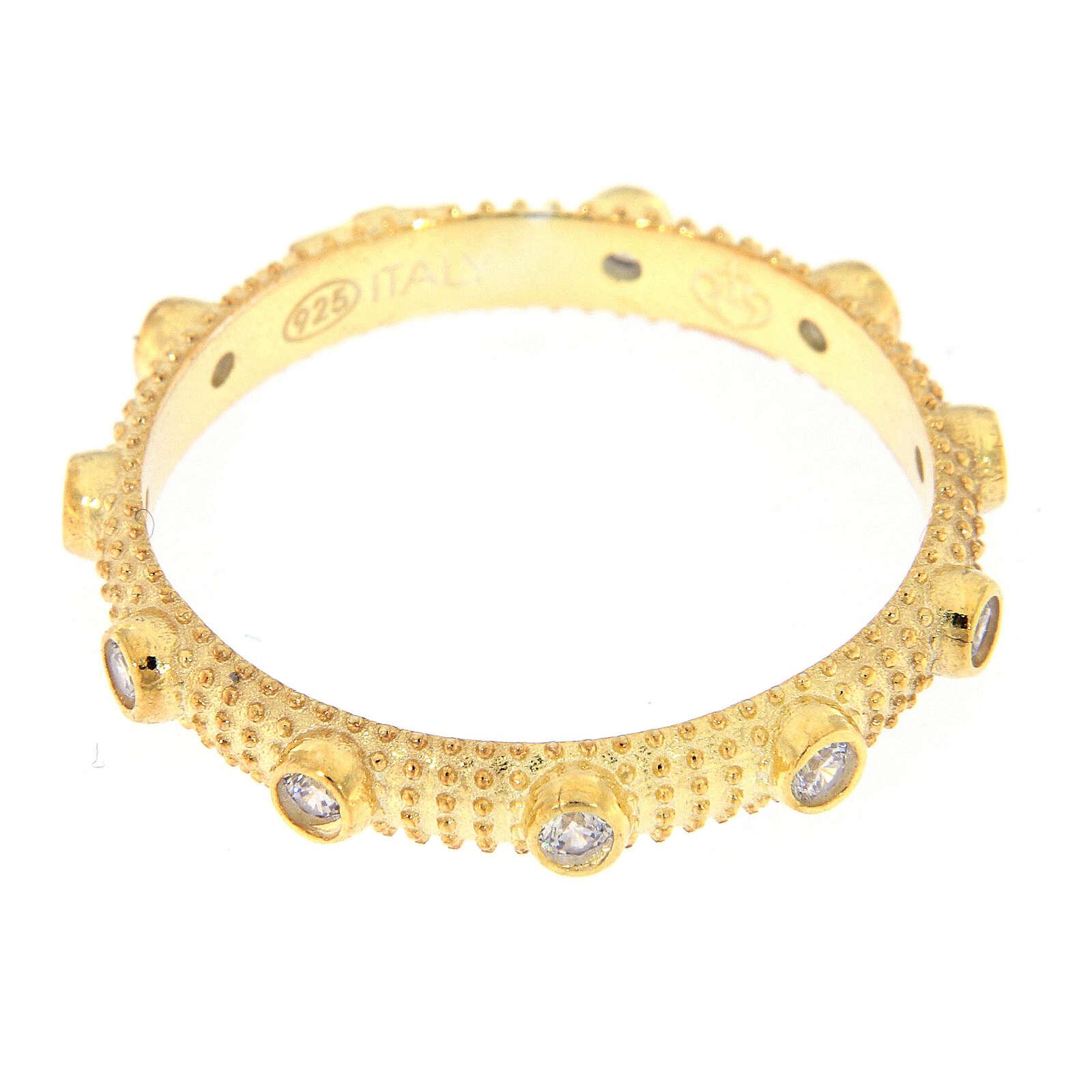 Anillo slim rosario plata 925 dorada zircones blancos 3