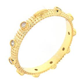 Anillo slim rosario plata 925 dorada zircones blancos s1