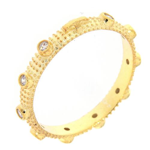 Anillo slim rosario plata 925 dorada zircones blancos 1