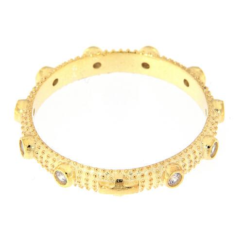 Anillo slim rosario plata 925 dorada zircones blancos 2