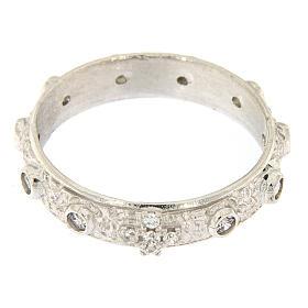Anello rosario argento 925 croce grani zirconi bianchi s2