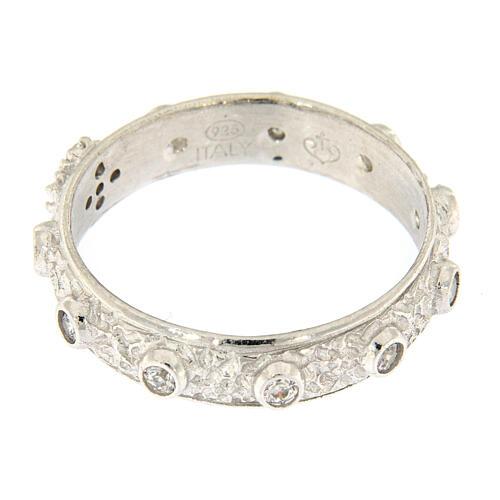 Anello rosario argento 925 croce grani zirconi bianchi 3