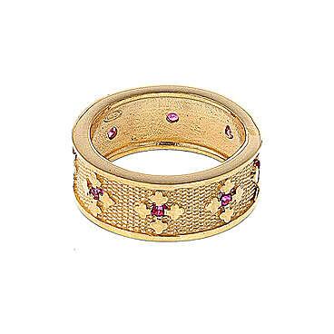 Anello Ave Maria argento 925 dorato zirconi rossi 3