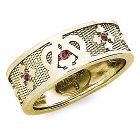 Anello Ave Maria argento 925 dorato zirconi rossi s1