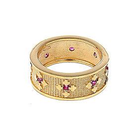 Anello Ave Maria argento 925 dorato zirconi rossi s3