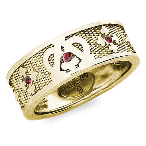 Anello Ave Maria argento 925 dorato zirconi rossi 1