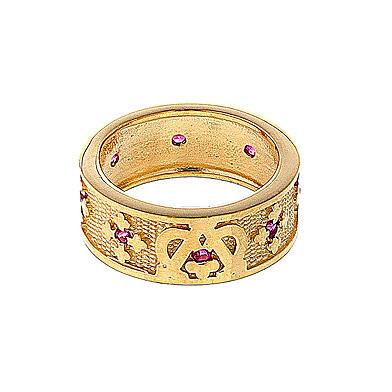 Anello Ave Maria argento 925 dorato zirconi rossi 2