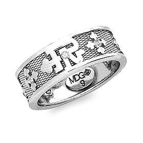 Anello Padre Nostro argento 925 zirconi bianchi s1