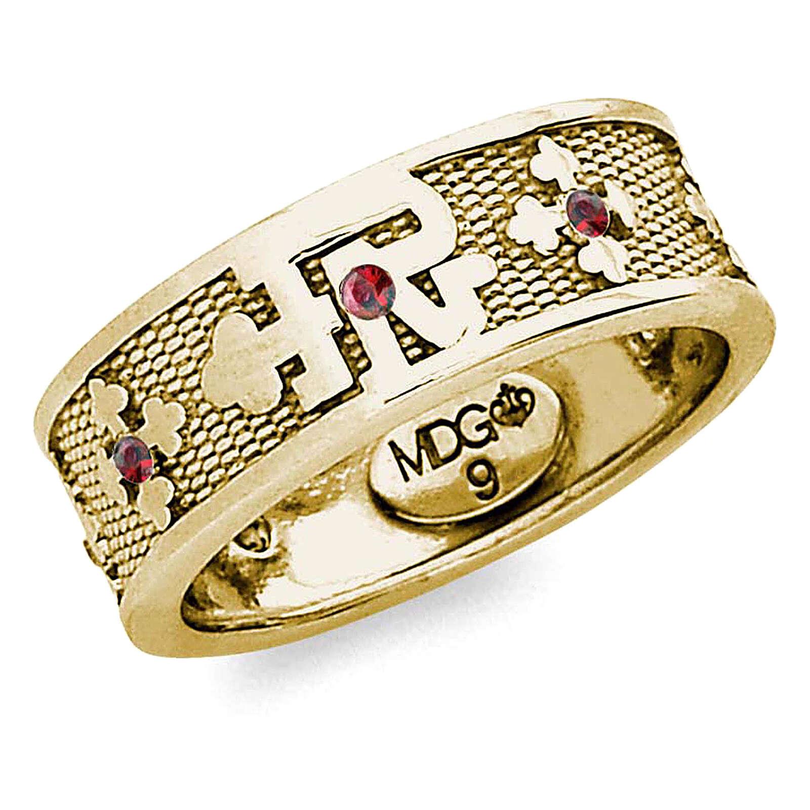 Anello argento 925 dorato zirconi rossi Padre Nostro 3