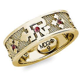 Anello argento 925 dorato zirconi rossi Padre Nostro s1