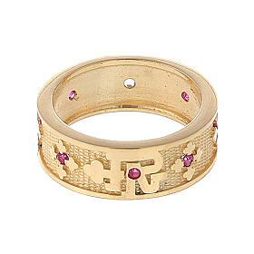 Anello argento 925 dorato zirconi rossi Padre Nostro s2