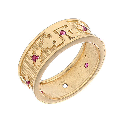 Anello argento 925 dorato zirconi rossi Padre Nostro 1