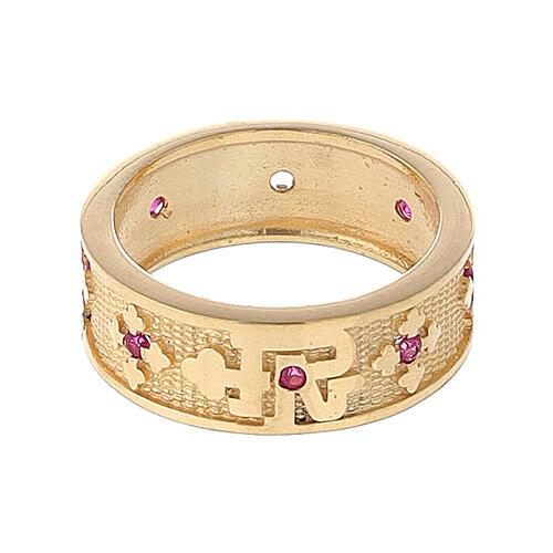 Anello argento 925 dorato zirconi rossi Padre Nostro 2