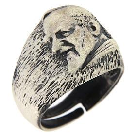Anello regolabile Padre Pio argento 925 s1
