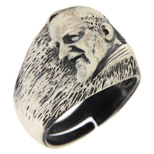 Anello regolabile Padre Pio argento 925 1