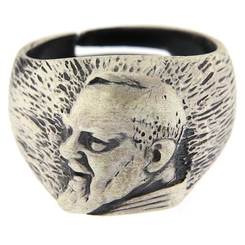 Anello regolabile Padre Pio argento 925 2