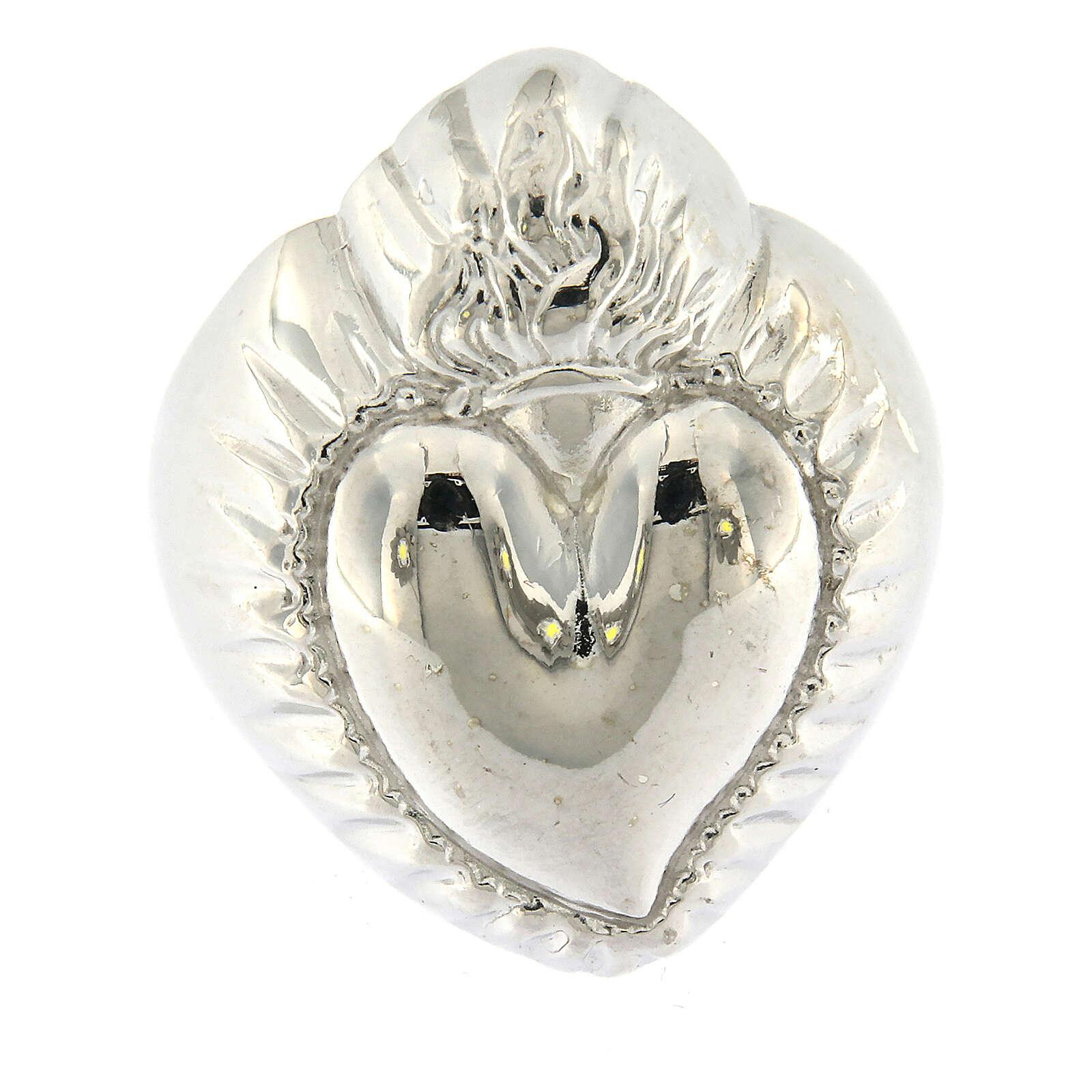Anillo corazón votivo plata 925 lúcido 20 mm 3