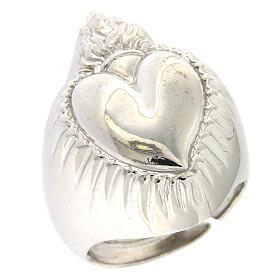 Anello cuore votivo argento 925 lucido 20 mm s1
