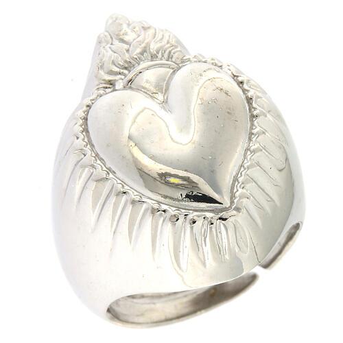 Anello cuore votivo argento 925 lucido 20 mm 1