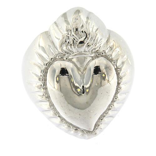 Anello cuore votivo argento 925 lucido 20 mm 2