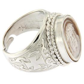 Anello argento 925 decori croce cammeo Gesù regolabile  s3