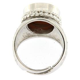 Anello argento 925 decori croce cammeo Gesù regolabile  s5