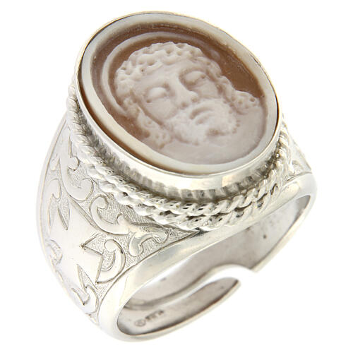 Anello argento 925 decori croce cammeo Gesù regolabile  1