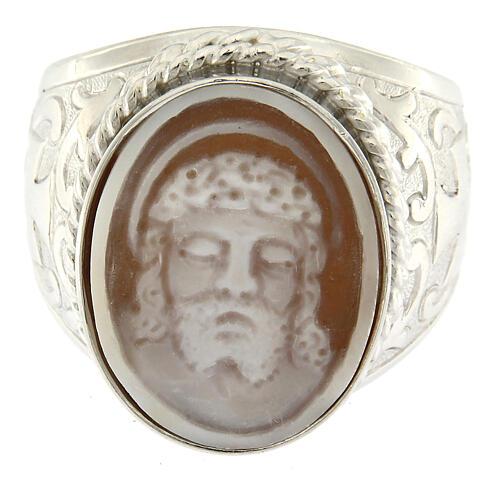 Anello argento 925 decori croce cammeo Gesù regolabile  2