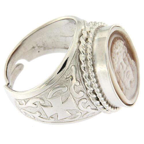 Anello argento 925 decori croce cammeo Gesù regolabile  3