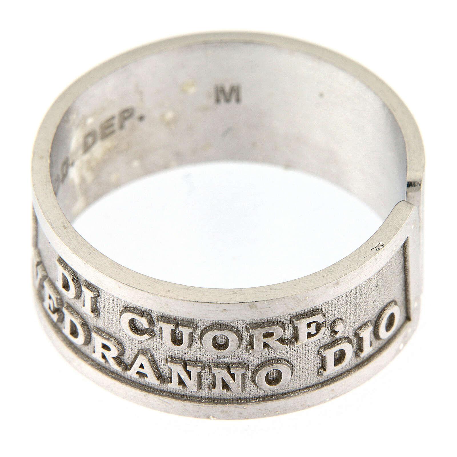 Anello Beati i Puri di Cuore argento 925 regolabile 3