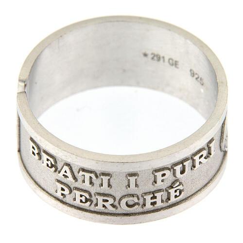 Anello Beati i Puri di Cuore argento 925 regolabile 4