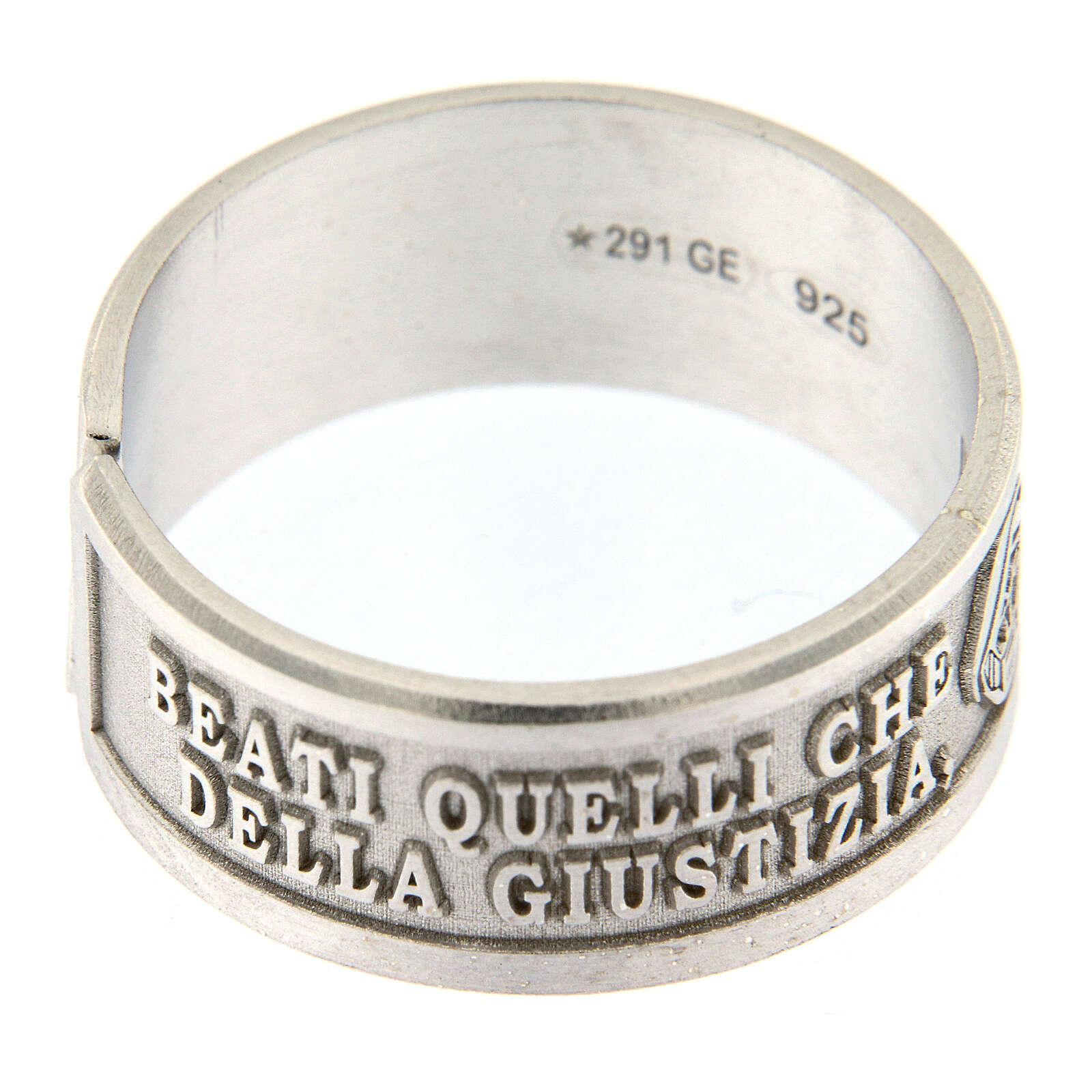 Anello Beatitudini Fame e Sete di Giustizia argento 925 3