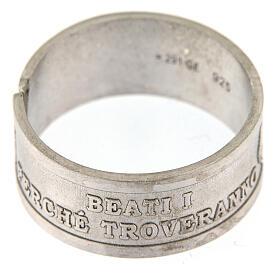 Anello argento 925 Beati i Misericordiosi regolabile s2