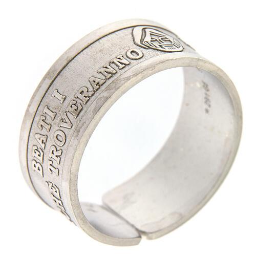 Anello argento 925 Beati i Misericordiosi regolabile 1